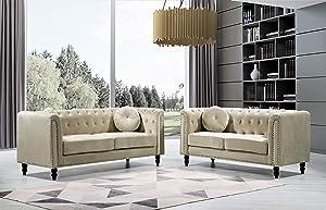 Container Furniture Direct Kittleson Mid Century Velvet Upholstered Nailhead Chesterfield Sofa Set, 2 Piece, Cream