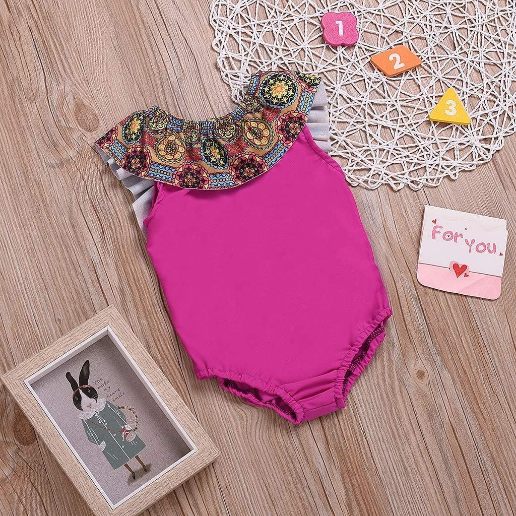Newmao Toddler Girls Swimsuit Halter Bow Suspender Patchwork Romper Summer Beach Bikini
