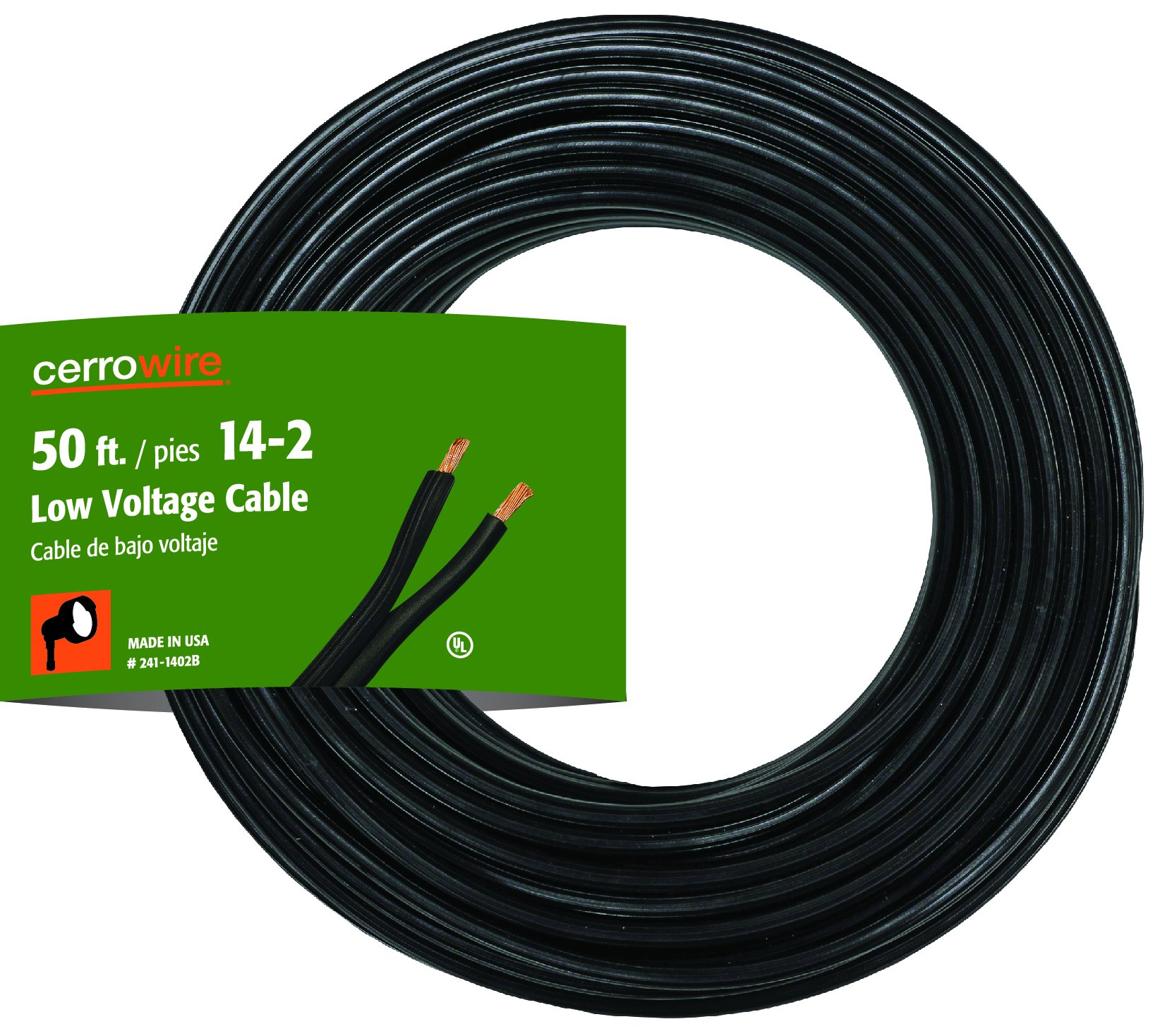 Cerrowire 241-1402B 50-Feet 14/2 Low Voltage Underground Landscape Lighting Cable