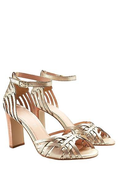 eb8cc377025 next Femme Sandales en Cuir Tressé Doré EU 43  Amazon.fr  Chaussures ...