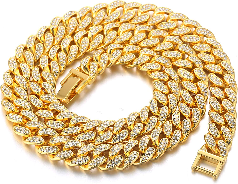 Cadena Cubana Hombres Iced Out,15MM/20MM Hombres Cadena de Oro Miami Chapado en Oro Real de 18k/Platino Plateado en Oro Blanco Gargantilla Collar Pulsera,Cz Completo Diamante Prong Set,Regalo para él