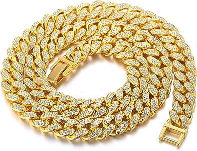 Halukakah Cadenas De Oro Hombre 18k Oro Verdadero 14mm Gargantillas Collares Oro Miami Cadena Cubana 45cm Con Caja Amazon Es Joyería