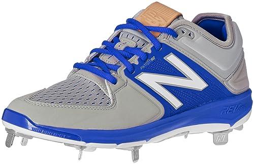 New Balance Men's L4040V3 Cleat Baseball Shoe, Grey/White, 14 2E US
