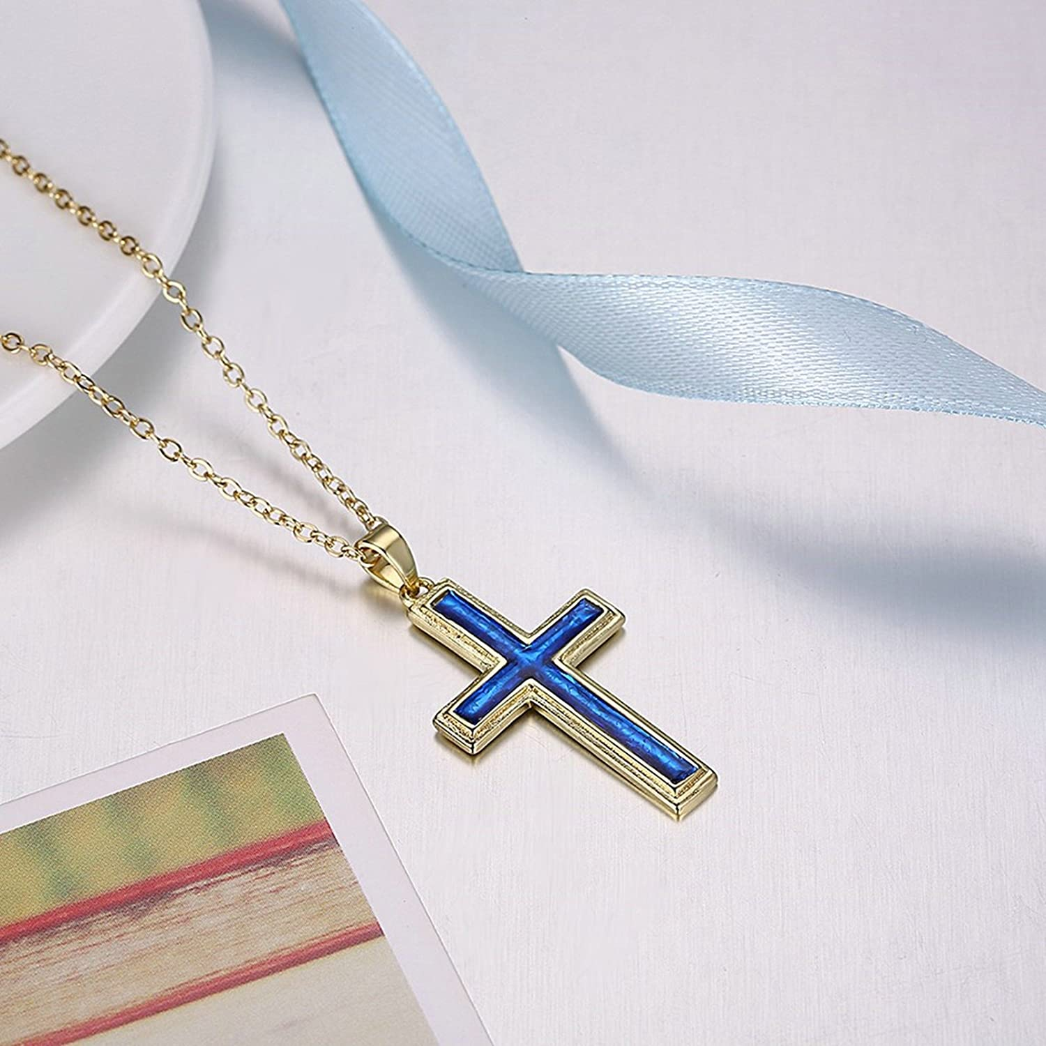 MoAndy Silver Plated Women Necklace Chain Cross Blue Length 45+5CM
