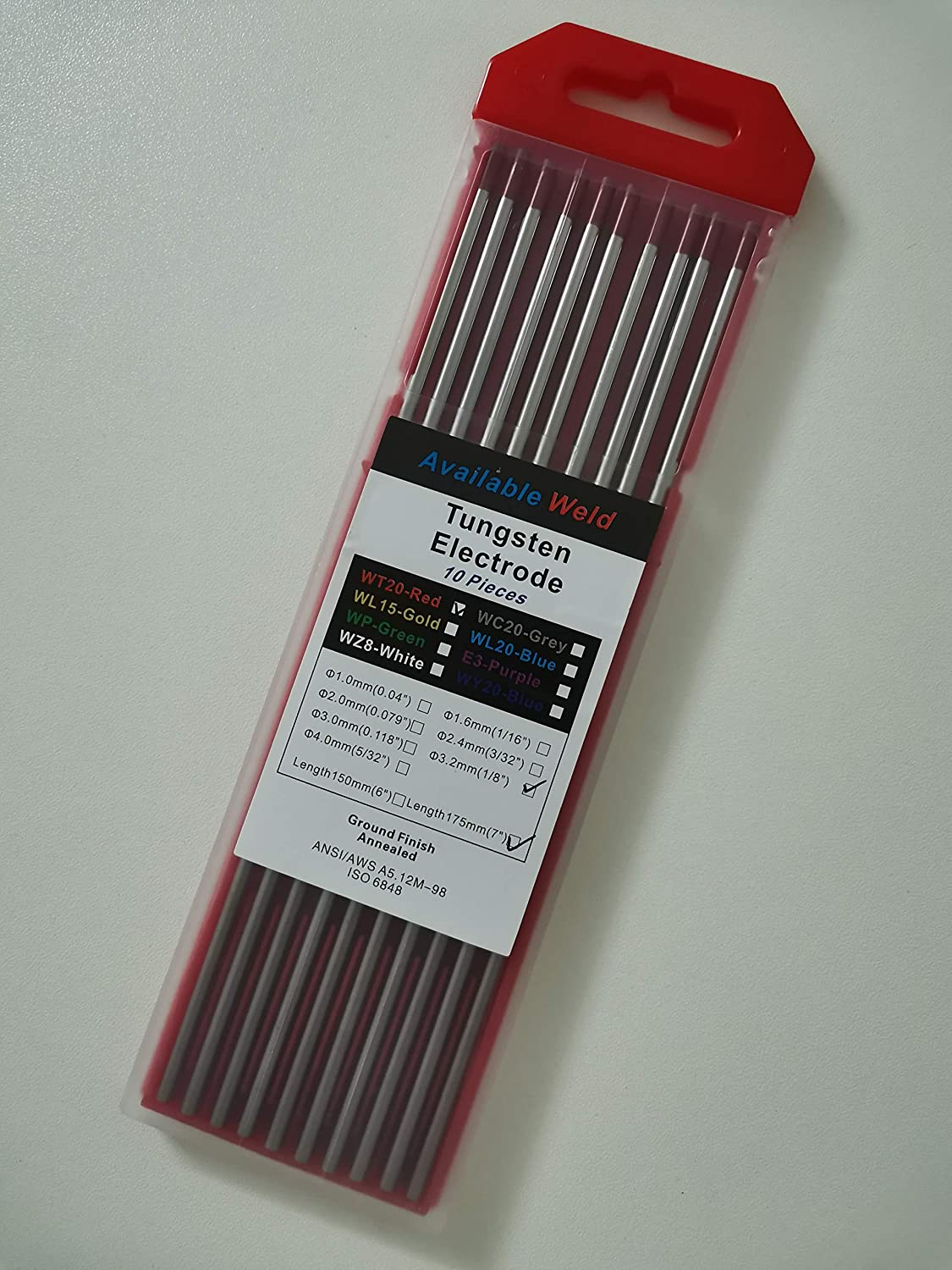 TIG welding tungsten electrode 1//8 by 7 Length, Red