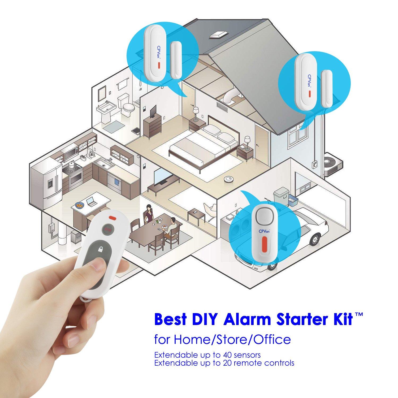 Cpvan Window Door Security Alarm Sensor Diy Wireless Car Wiring Diagram Generic Home Burglar System With 1 Siren Unit 2 Magnetic Sensors And Remote