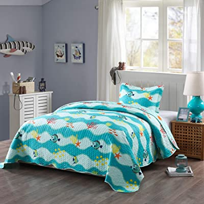 TT LINENS 2 Piece Kids Quilt Set Lightweight Bedspread Decoration Throw Blanket Teens Boys Girls Bed Printed Beach Sea Sea Life Bedding Coverlet Comforter Set/ 277 Fish Quilt (Twin): Home & Kitchen