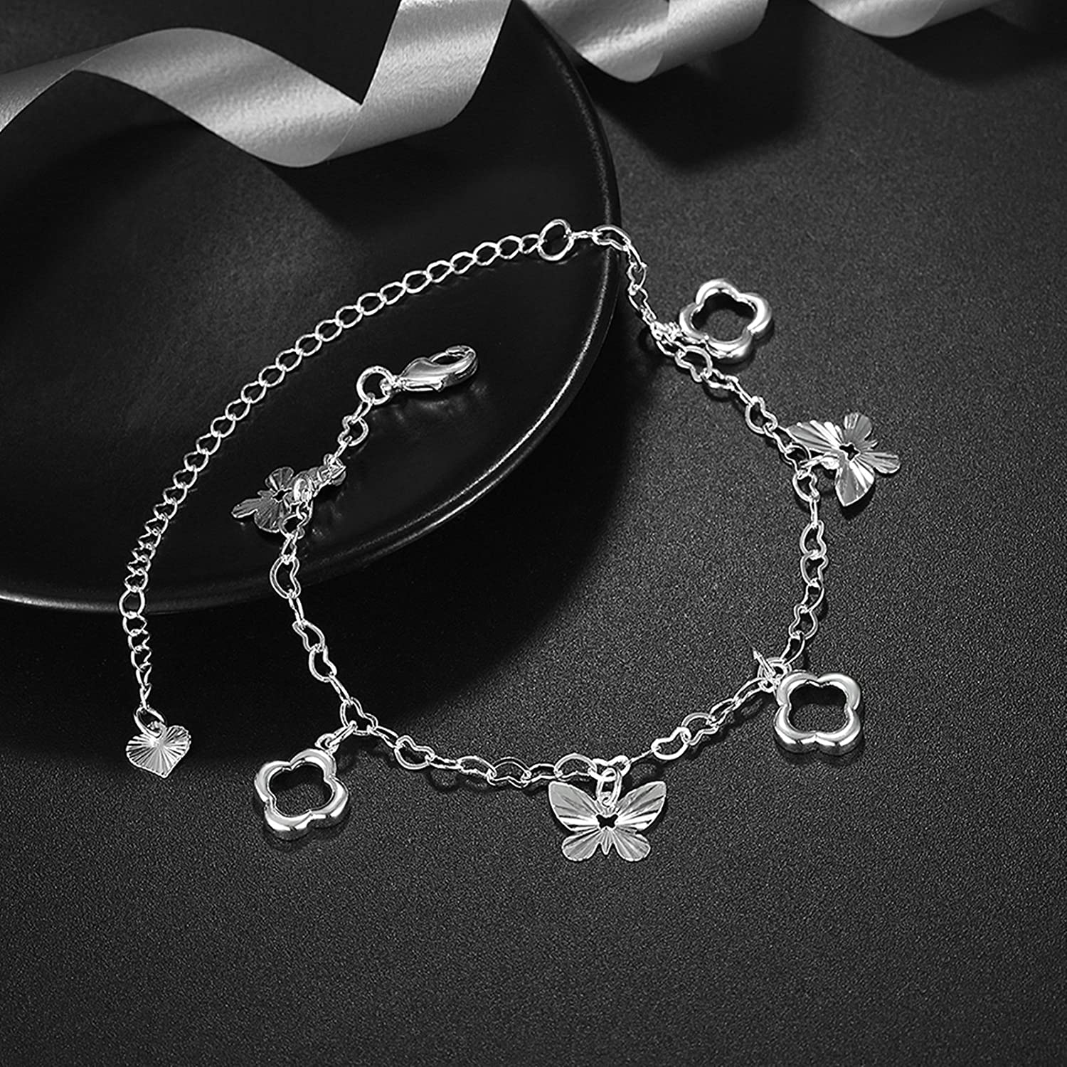 Bishilin Beach Foot Jewelry Wedding Flower Butterfly anklet infinity 1.2 CM