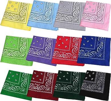 Aoutacc - Paquete de 12 bandanas de cachemir de algodón, 56 x ...