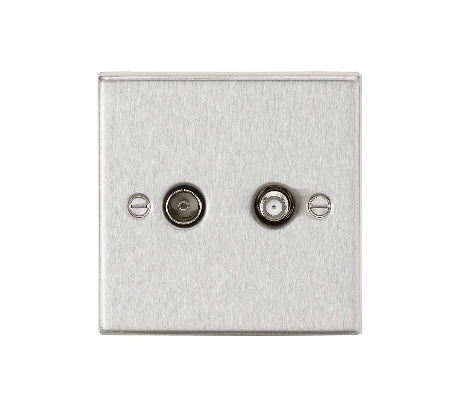 Knightsbridge SF0140BC screwless coaxial tv /& sat tv outlet isolated b//chrome