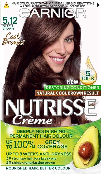 Garnier Nutrisse Tinte para el cabello castaño permanente, hasta 100% cobertura de cabello gris, con acondicionador de 5 aceites – 5.12 Cool Glacial ...