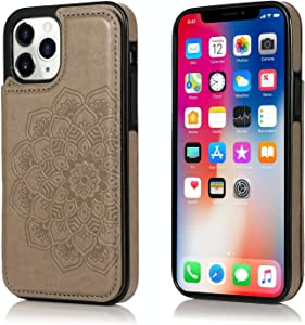 UNKNOK Compatible with iPhone 12 and iPhone 12 Pro Case, 6.1 Inch Wallet Case with Card Holder Slots Slim Premium PU Leather Embossed Mandala Flower Cover case for iPhone 12/12 Pro 6.1 Inch
