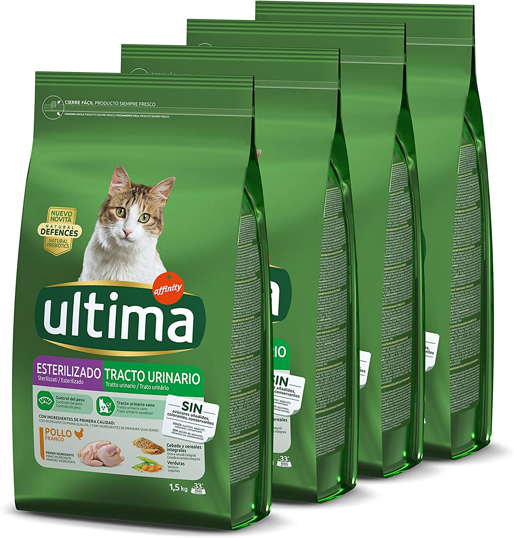 Ultima Pienso para gatos esterilizados con problemas del tracto urinario: Pack de 4 x 1.5 kg - Total: 6 kg