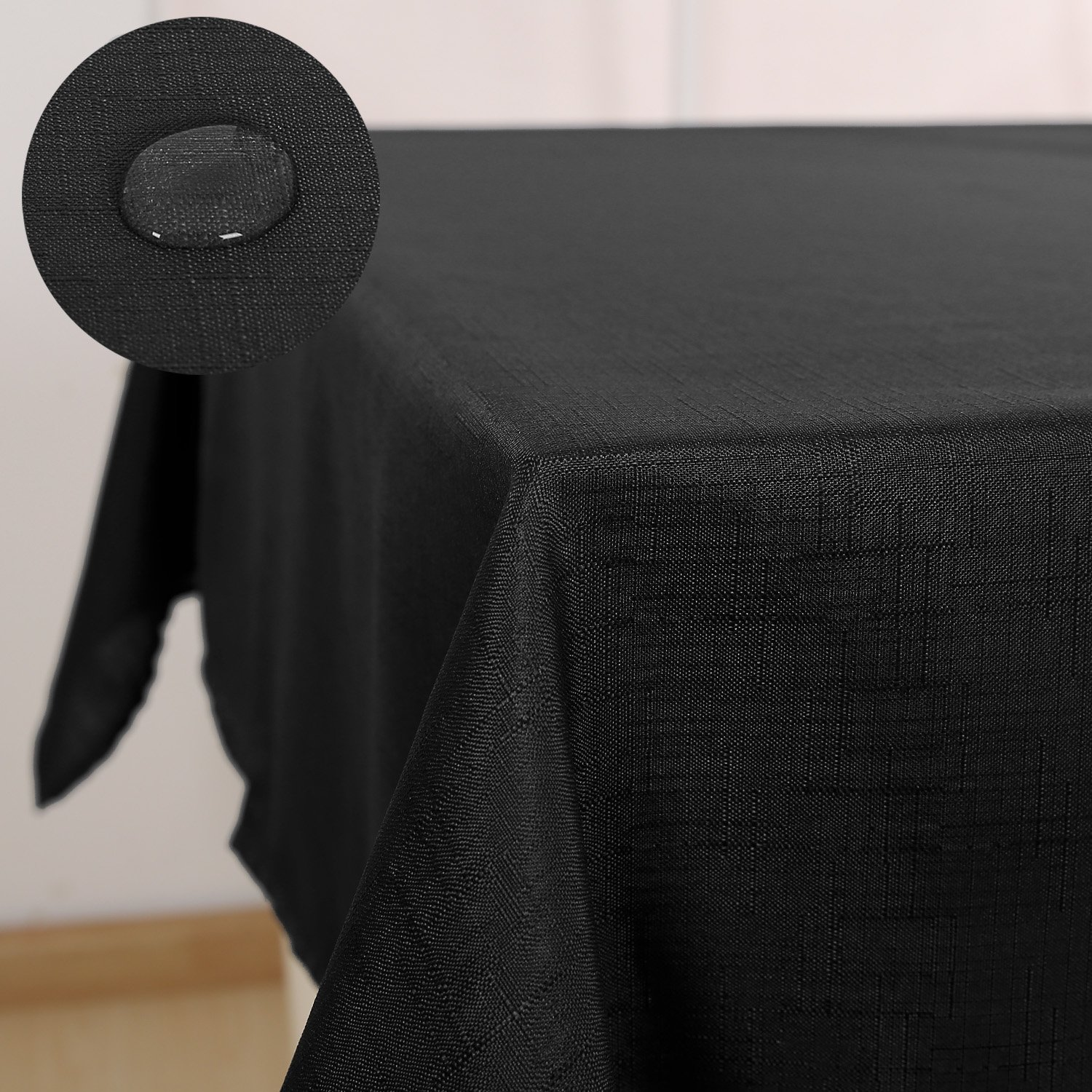 Deconovo Faux Linen Tablecloth Waterproof Tablecloths Table Covers for Parties Black 140x200cm(55x79in)