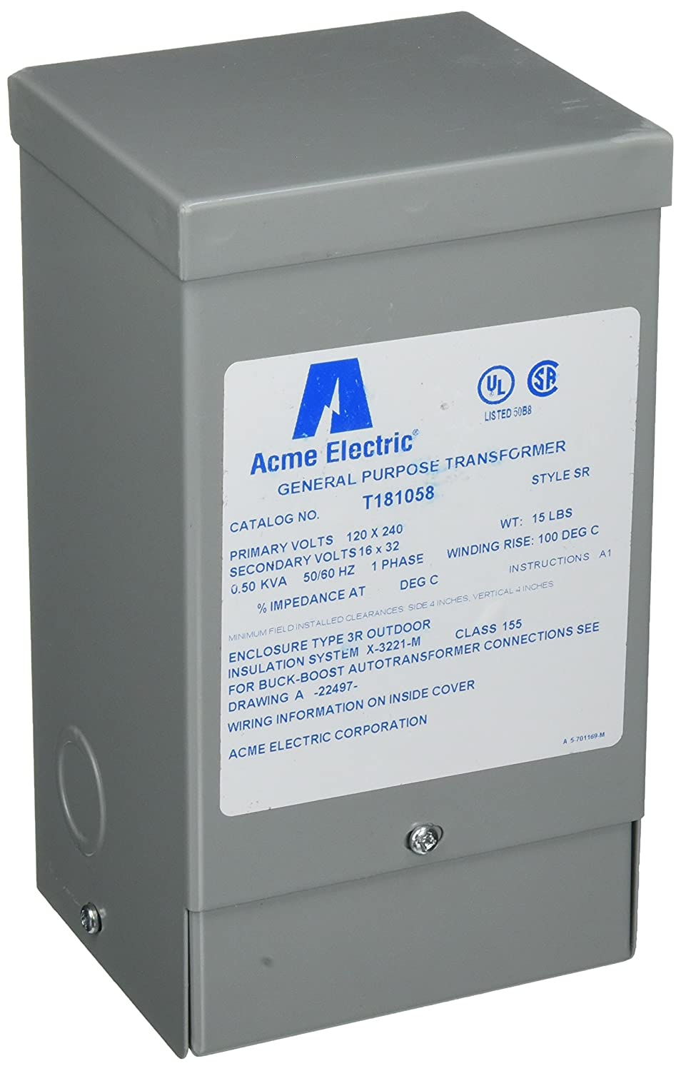 Hubbell Acme Electric T181058 Buck Boost Transformer 1 Phase 60 Hz Drytype Testing Open Electrical 05 Kva 120v X 240v Primary Volts 16v 32v Secondary Industrial