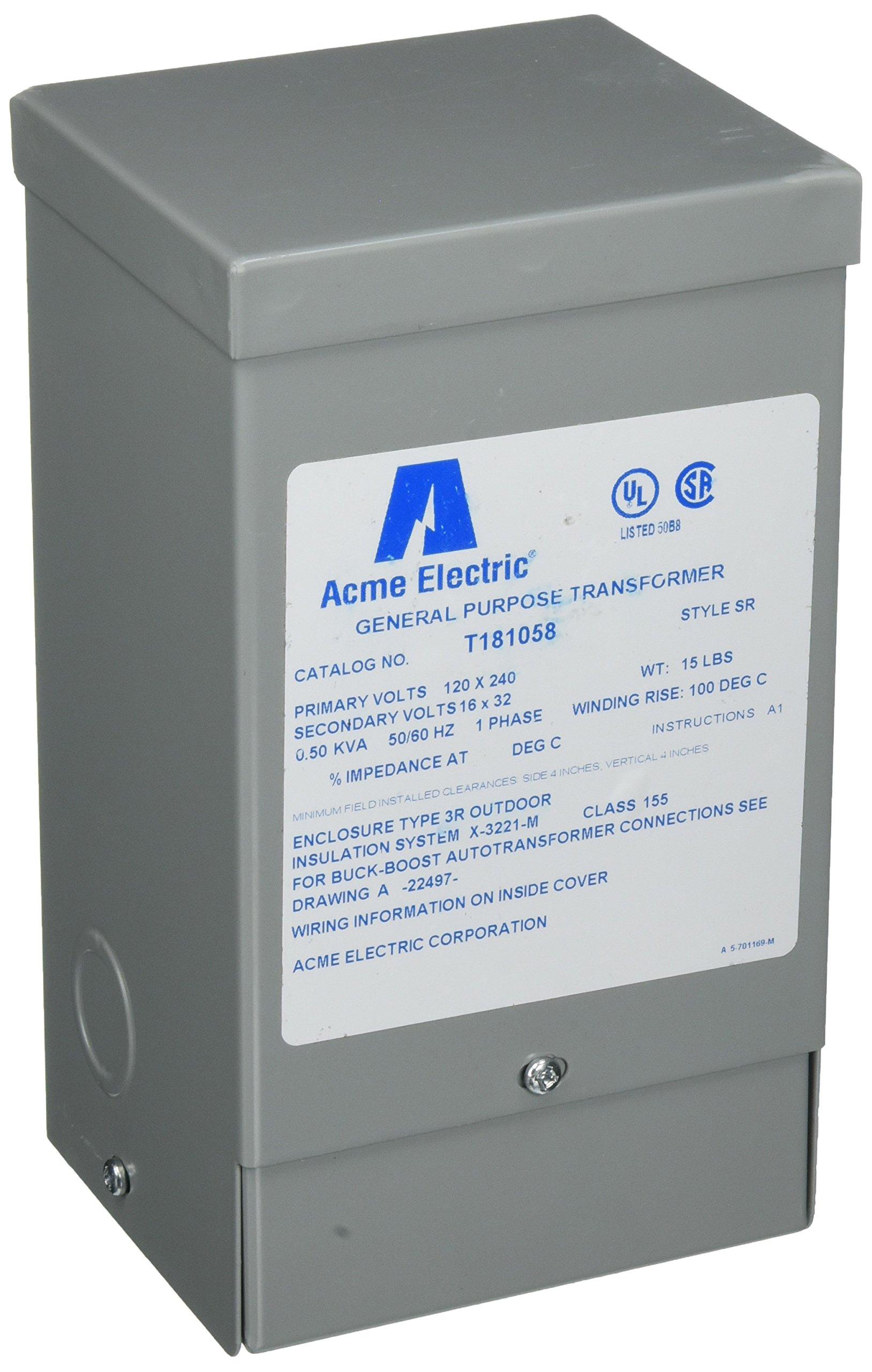 Hubbell Acme Electric T181058 Buck-Boost Transformer, 1 Phase, 60 Hz, 0.5 kVA, 120V x 240V Primary Volts, 16V/32V Secondary Volts