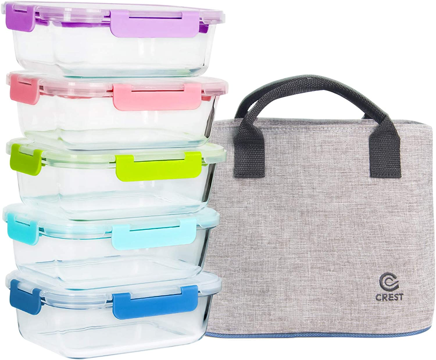 5-Pack 34Oz Multi-color Glass Containers Meal Prep with Lids, Airtight Leak Proof Food Containers with Insulated Lunch Bag for Women