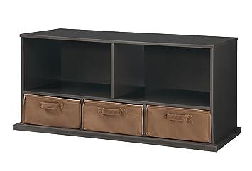 Badger Basket Shelf Storage Cubby With Three Baskets, Slate/Espresso