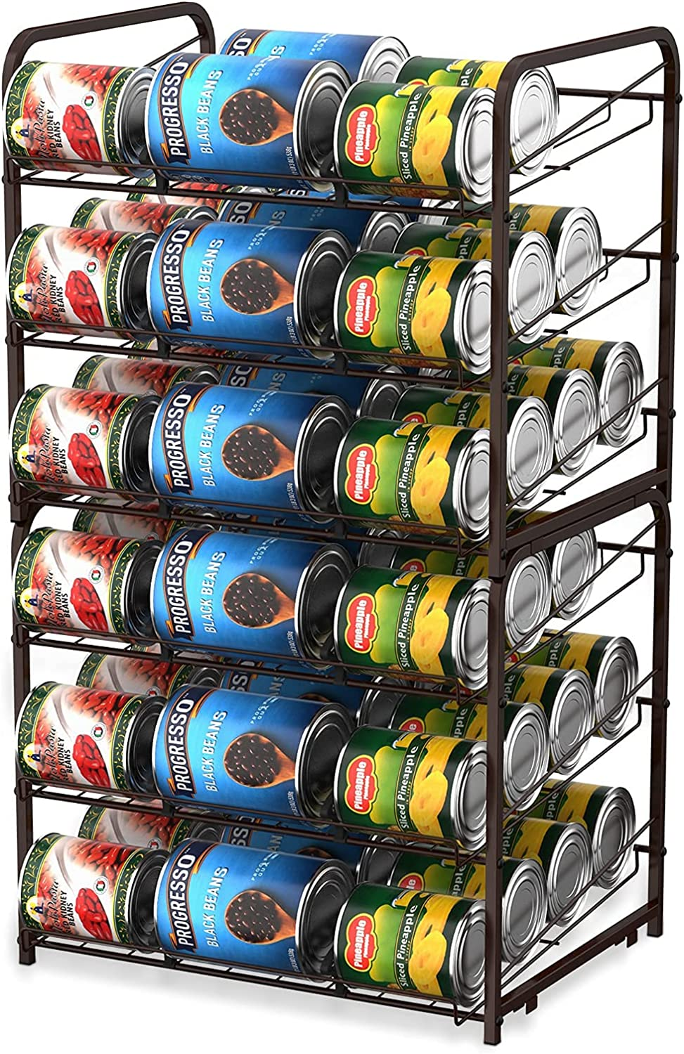 MOOACE 2 Pack Stackable Can Rack Organizer, Storage for 72 Cans, 3 Tier Can Storage Dispenser Rack Holder for Kitchen Cabinet Pantry Countertop, Bronze
