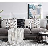 DEZENE Juego de 6 Fundas de Almohada Decorativas de Nook para sofá, Cama o sofá, Negro, Blanco, Gris, café, Neutro, 18'' x 18