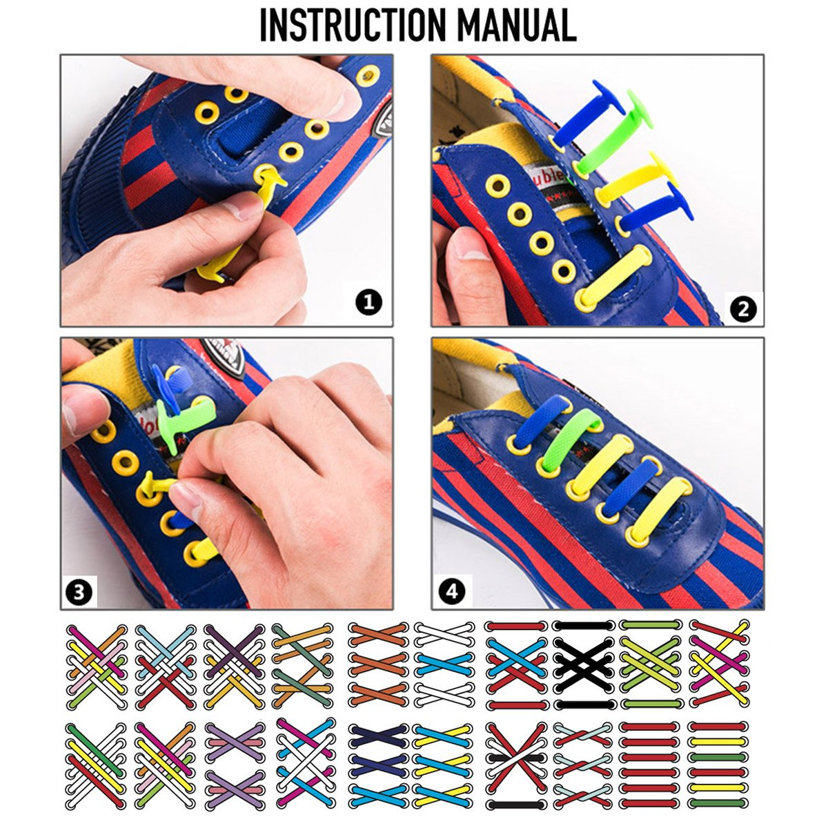 No Tie Shoelaces for Kids and Teenagers Outdoor Sports - Best in Sports Fan Shoe Laces – Waterproof Silicon Flat Elastic Athletic Running Shoe Laces for Sneaker Boots Board Shoes and Casual Shoes