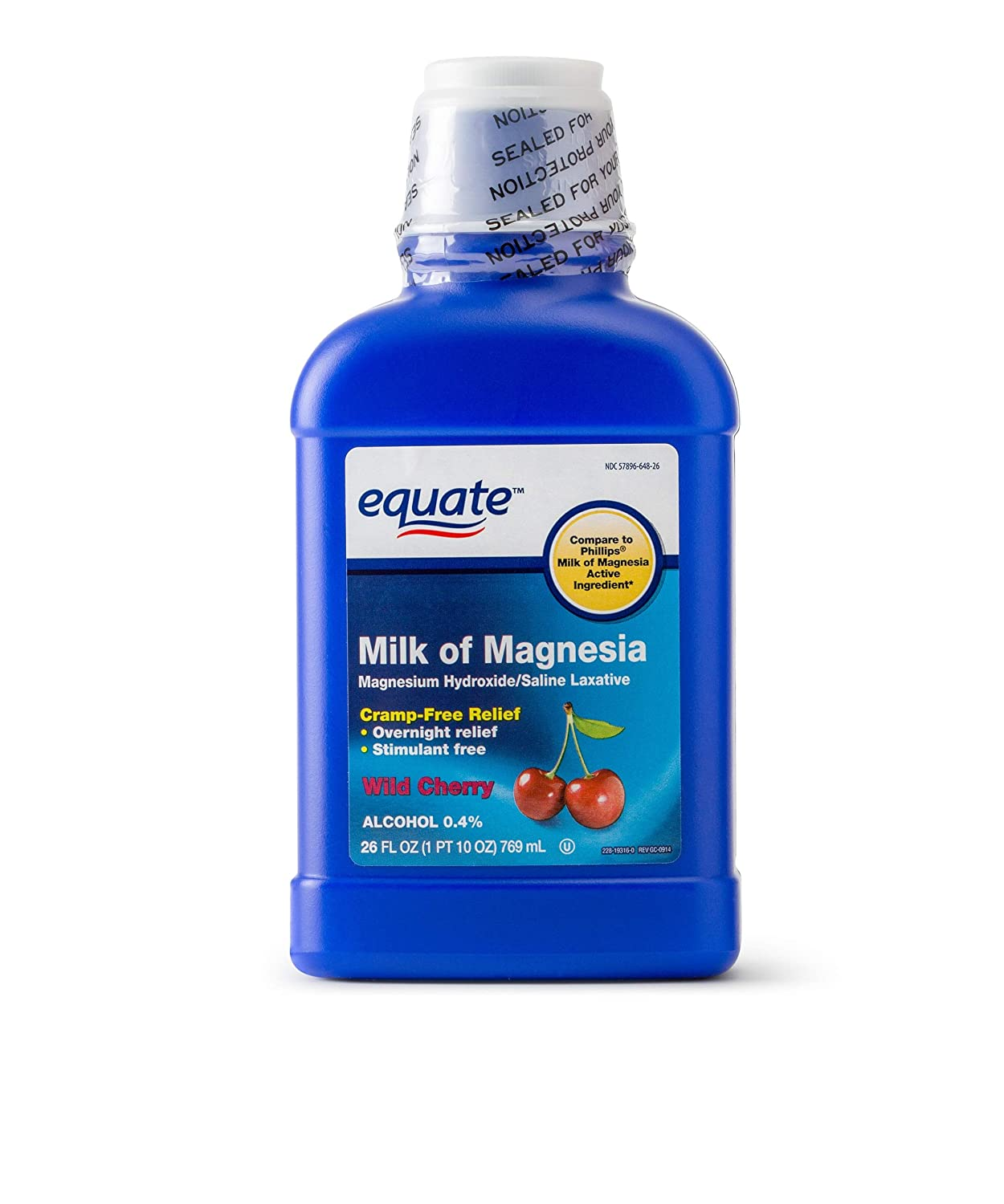 Amazon.com: Equate Milk of Magnesia Saline Laxative Wild Cherry Flavor, 1200 mg, 26 Oz (Pack of 2): Health & Personal Care