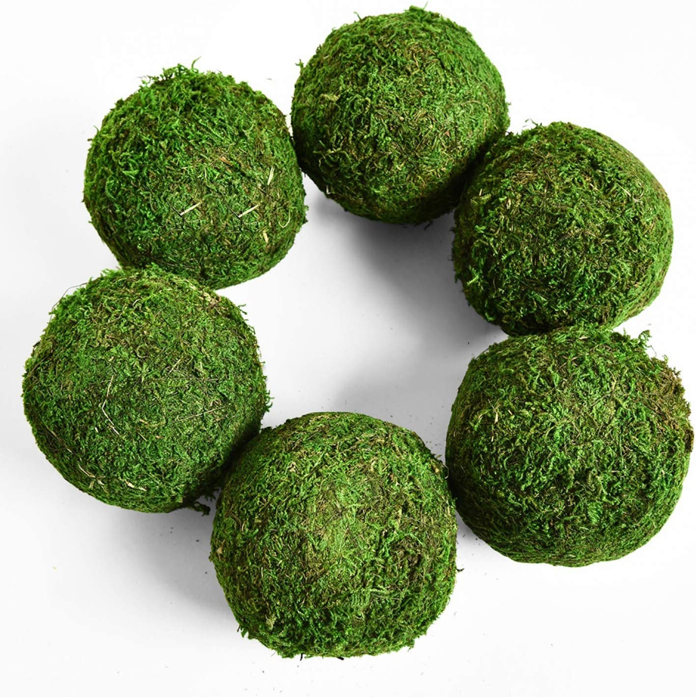 "Vumdua Moss Ball, Natural Decorative Green Globes with Handmade, Hanging Balls Vase Bowl Filler for Home Party &Weddings Display Decor Props (3.5""-Set of 6)"