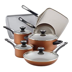 Farberware High Performance Nonstick Aluminum Cookware Set, 17-Piece, Copper