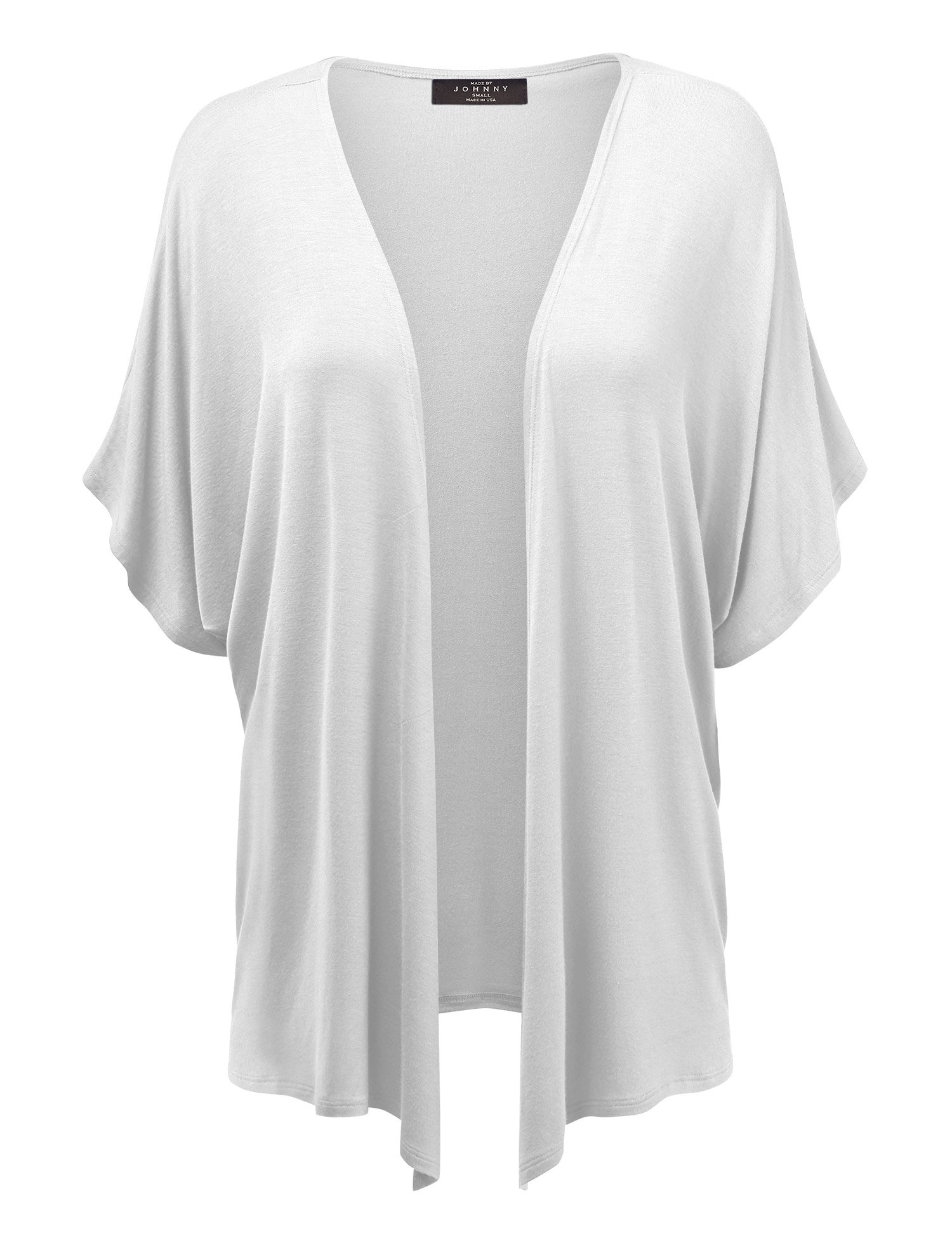 Made By Johnny MBJ Womens Short Sleeve Dolman Cardigan L White