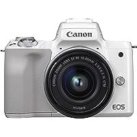 Canon EOS M50 spiegellos Systemkamera (24,1 MP, dreh-und schwenkbares 7,5cm (3 Zoll) Touchscreen-LCD, Digic 8, 4K Video, OLED EVF, WLAN, Bluetooth) mit Objektiv EF-M 15-45mm IS STM weiß/silber