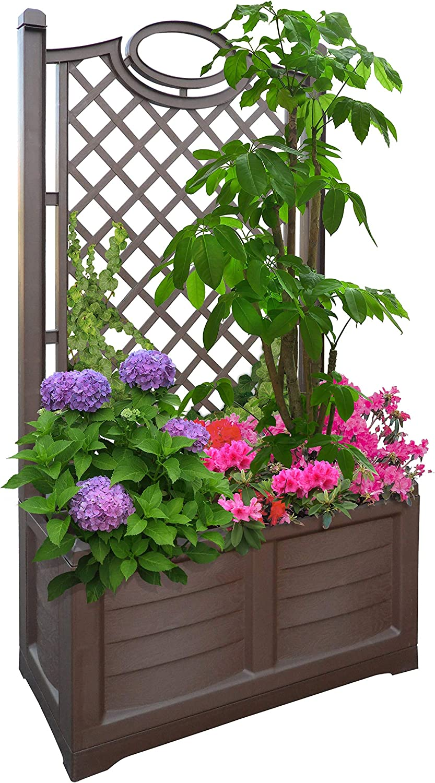Bamal Aire Libre Flores Caja con Espalier, 80x 42,5x 150cm, Cocoa, 80 cm