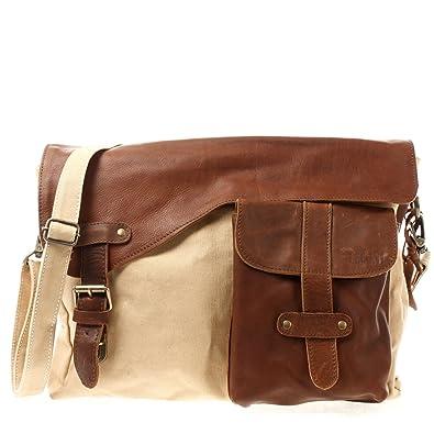 Messenger Bag DIN A4 Leder Canvas Damen & Herren Schultasche Retro look Collegetasche Umhängetasche 38x28x12cm braun grau LE3032-C Leconi uMFijKSN