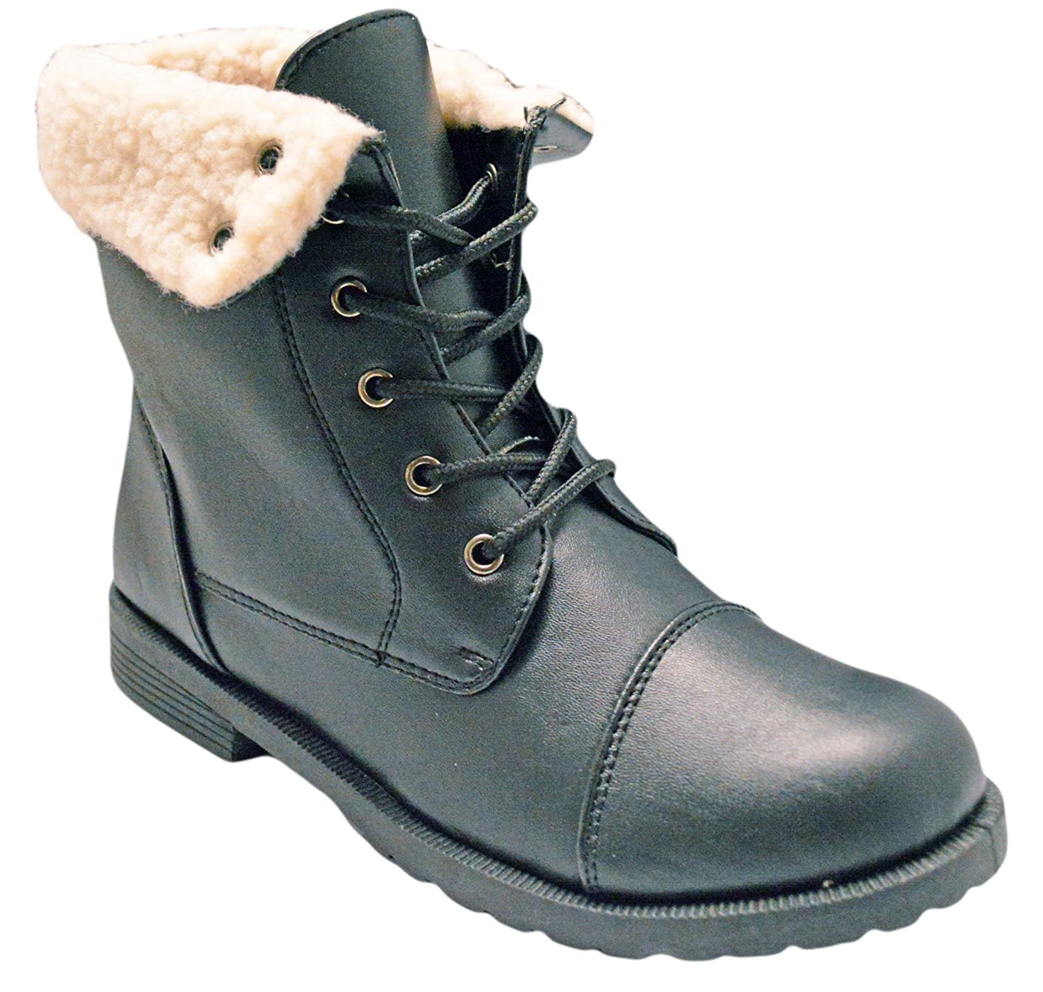ba26ba5b57d Simply Pedals Girls Faux Sherpa Trim Vegan Leather Combat Military Lace Up  Boot (Little Girl/Big Girl)