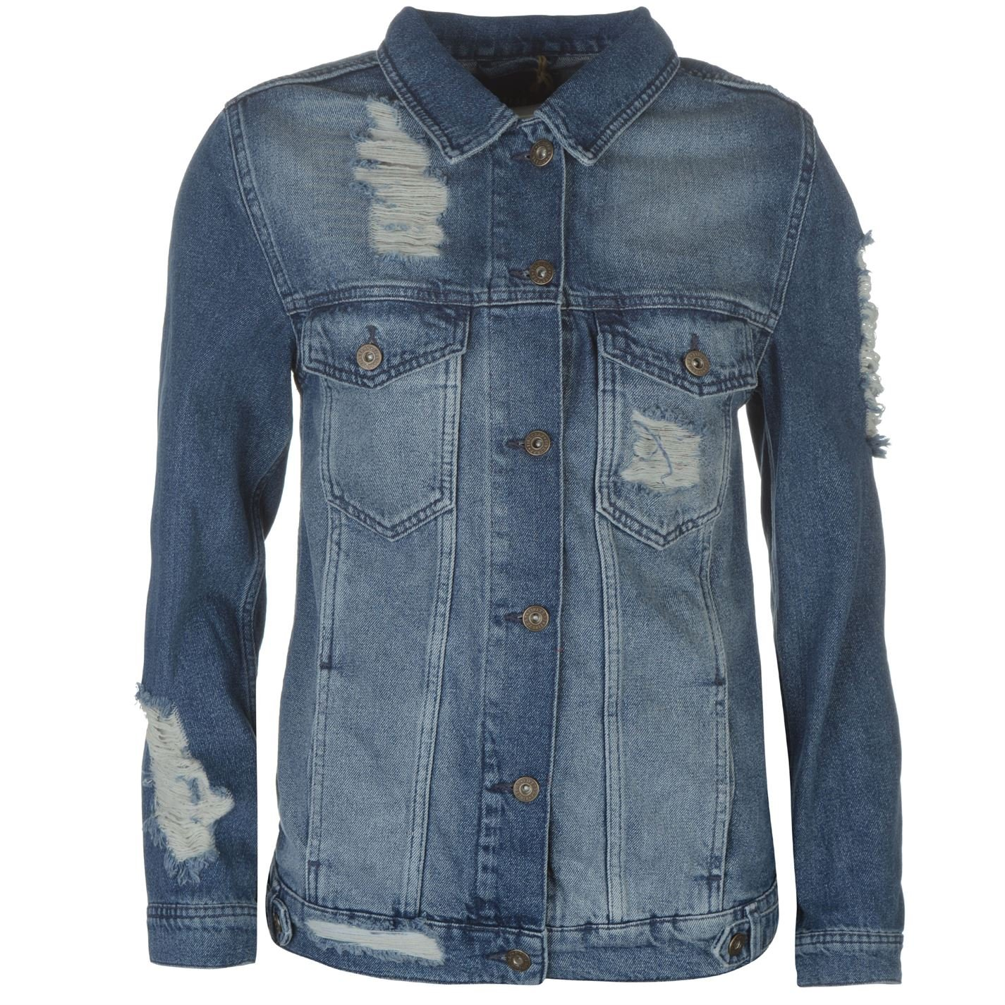Firetrap Womens Blackseal Distressed Denim Jacket Coat Top Long Sleeve Cotton Blue 10 (S)