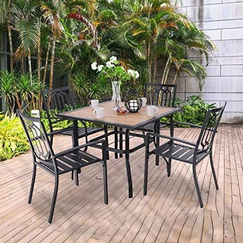 PHI VILLA Patio Wood-Like 37 inch Square Dining Table and Bistro Chairs Furniture Set of 5