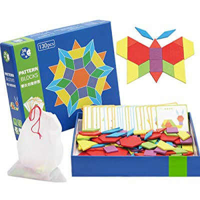 Wooden Pattern Blocks | Classic Educational Toy with 130 Geometric Shape Pieces and 24 Designs: Toys & Games