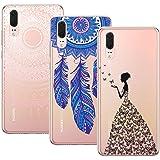 Yokata [3 Packs] HuaWei P20 Hülle Silikon Transparent Durchsichtig Handyhülle Schutzhülle TPU Dünn Slim Kratzfest mit Motiv - Mandala + Feder + Mädchen und Schmetterling