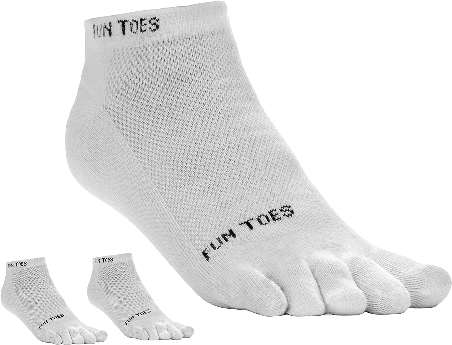 FUN TOES 3 Pairs Men's COTTON Toe Socks Breathable Mesh Top Size 10-13
