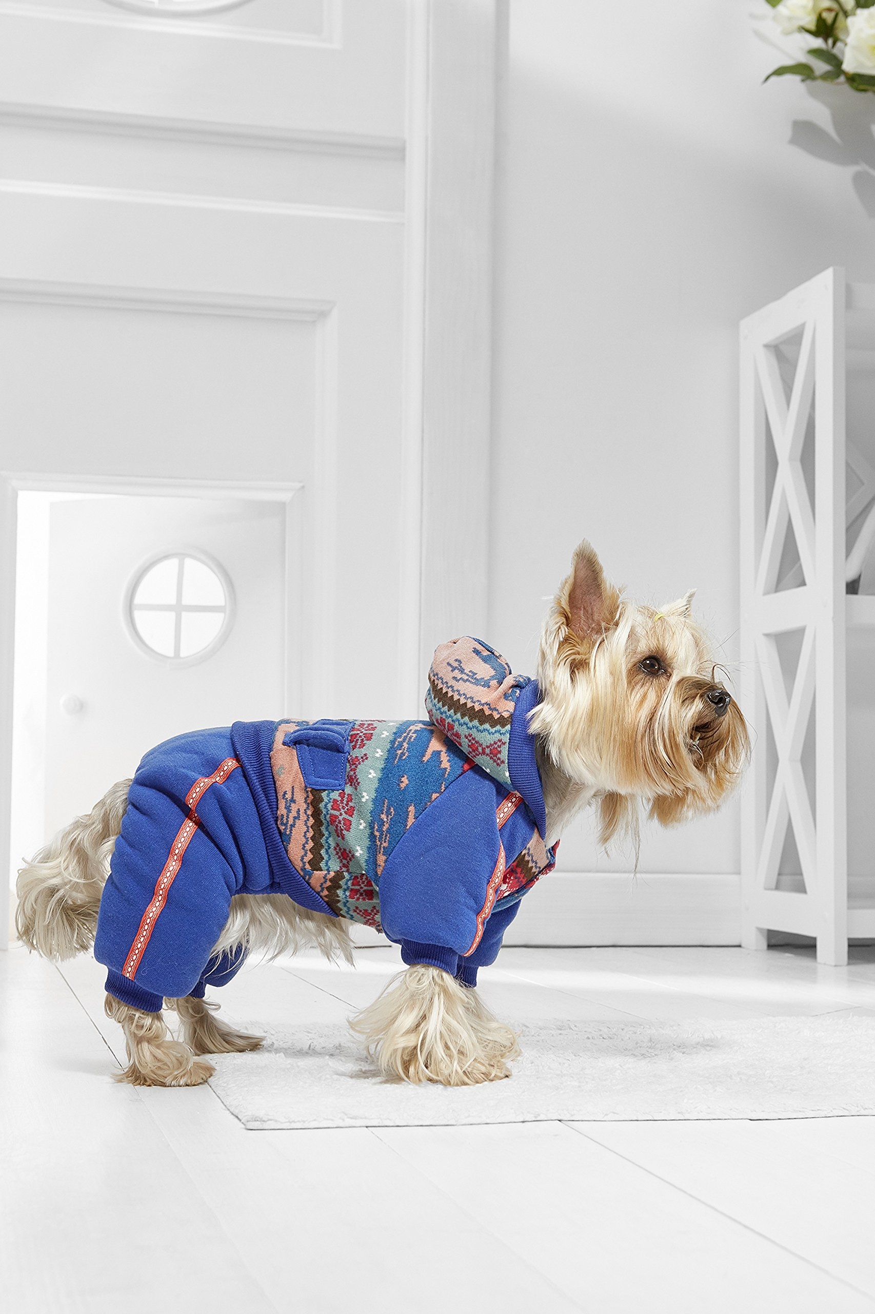 Toy Dog Winter Jumpsuit For Yorkie Pom Chihuahua Papillon Mini Schnauzer Maltese (Tiny Size, blue, yellow, gray)