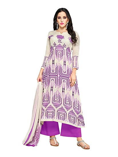 4ccf5595952d Applecreation Women S Cotton Blend Unstitched Dress Material (Off White    Purple Free Size)  Amazon.in  Clothing   Accessories