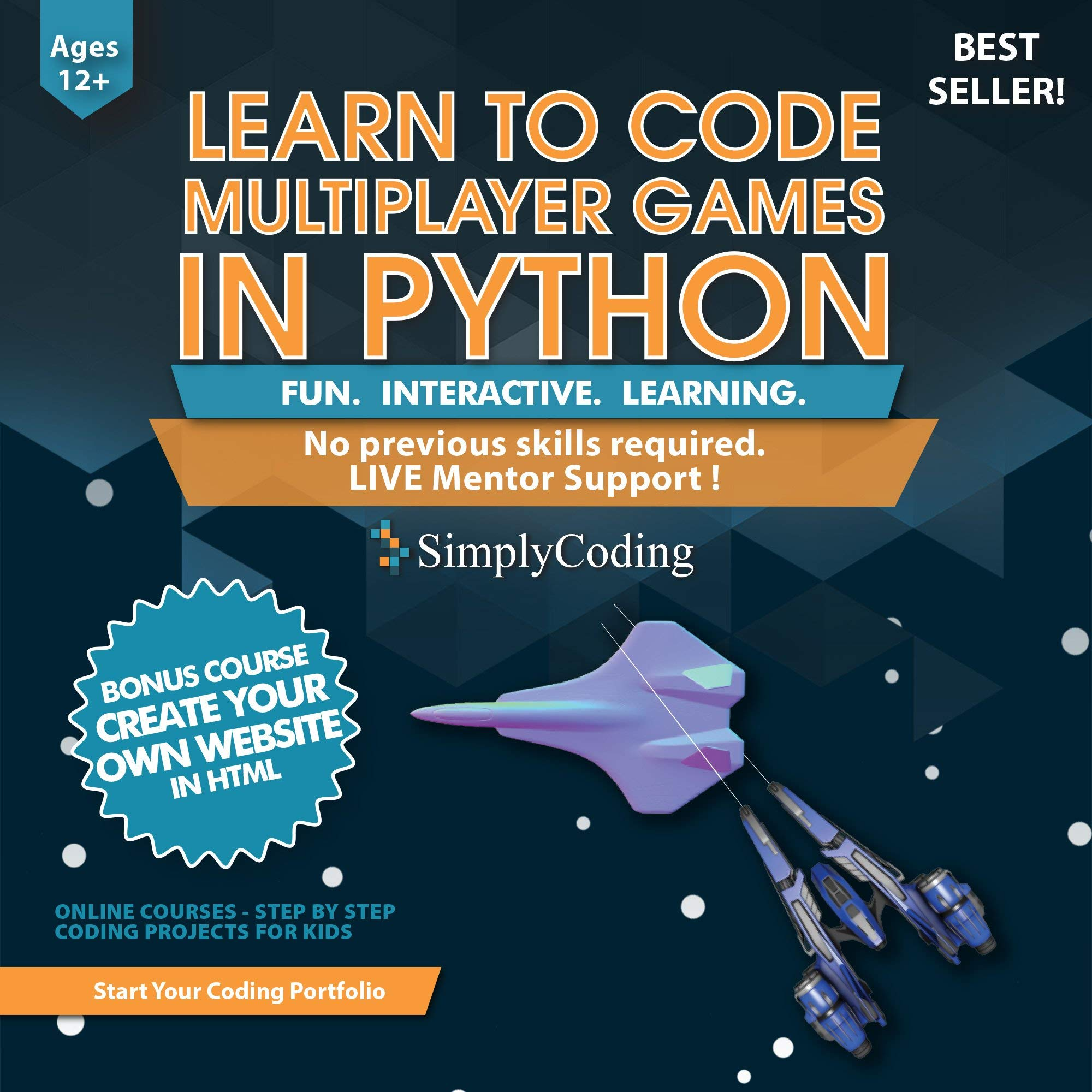 Simply Coding for Kids: Learn to Code Python Multiplayer Adventure Games - Video Game Design Coding Software - Computer Programming for Kids, Ages 12-18, (PC, Mac Compatible) by Simply Coding