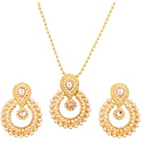 Touchstone Indian Bollywood Gorgeous Traditional Bridal Designer Jewelry Pendant Set in Gold and Silver Tone for Women.