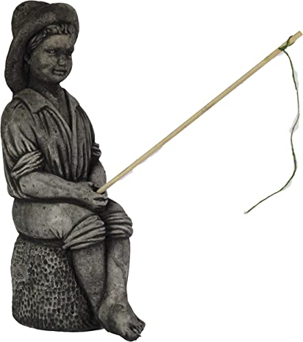 Axel The Fishing Boy Statue Home and Garden Statues Concrete Statuary