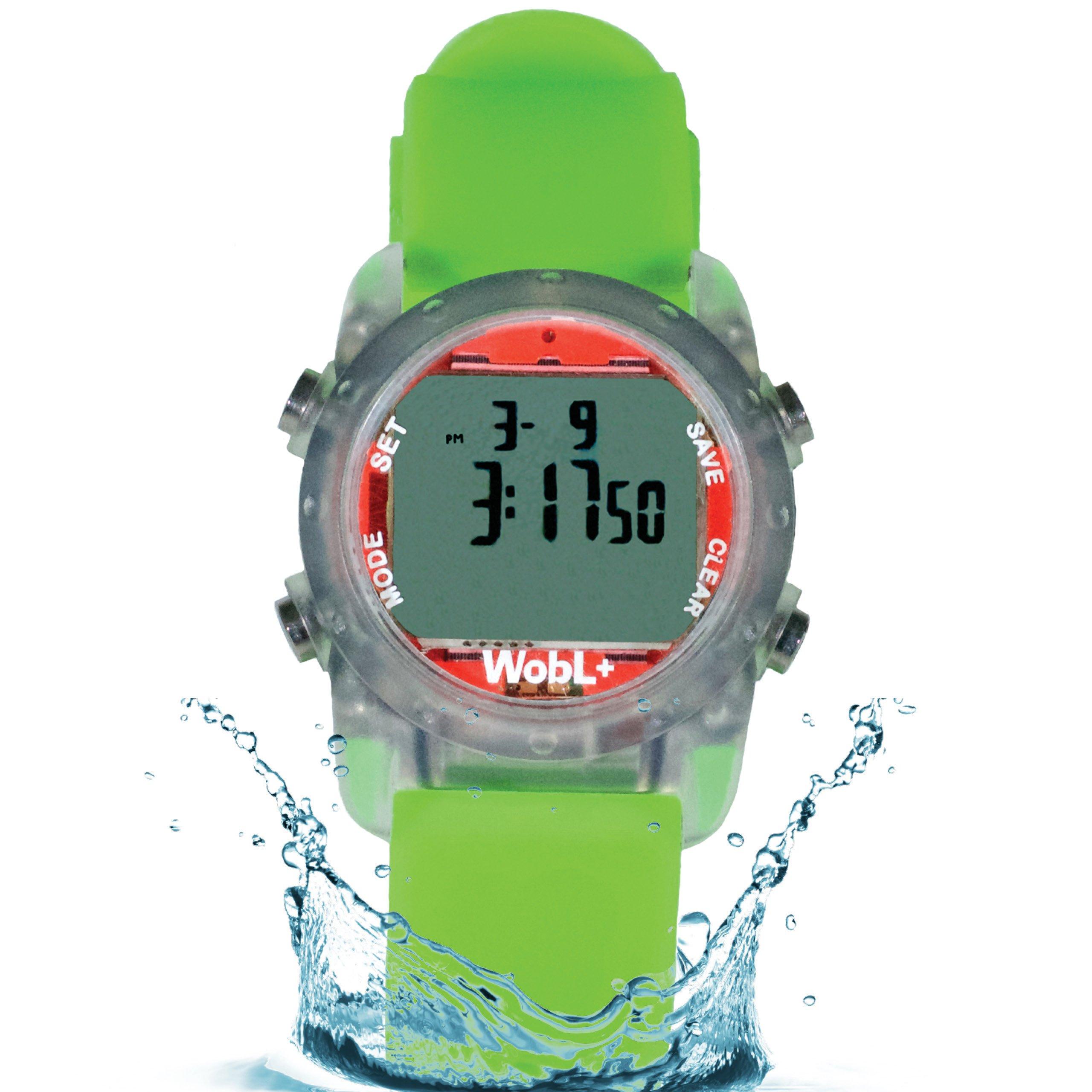 WobL+ Waterproof Vibrating Watch (Green), 9 Alarms