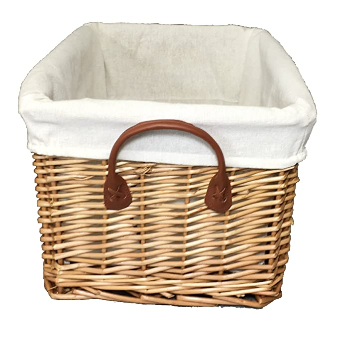 The Pescara Collection Wide and shallow basket natural wicker colour small size 1 wicker with removable lining storage with handles