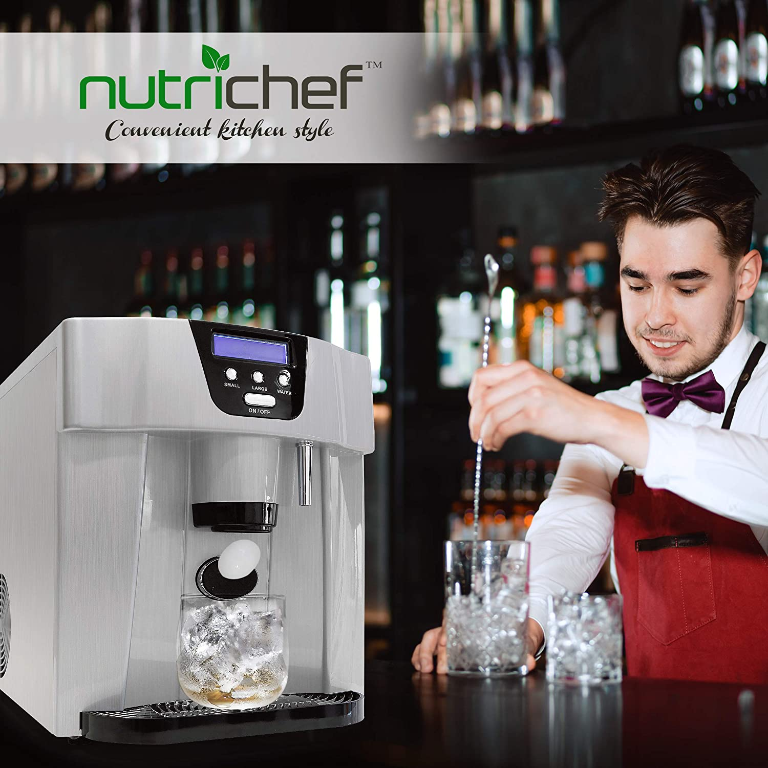 NutriChef Ice Maker and Dispenser Ice Machine W//Easy-Touch Buttons PICEM75 Produces 33 lbs of Ice Per 24 Hours Upgraded Machine Countertop Ice Dispenser Silver Get Ice in 9 Minutes