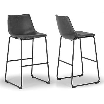 Tremendous Set Of 2 Adan Iron Frame Vintage Grey Faux Leather Bar Stool Pabps2019 Chair Design Images Pabps2019Com