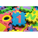 "EVA Educational Puzzle Foam Mat Interlocking Alphabet & Number - 36 Small Blocks (5"" by 5"" Each block)"