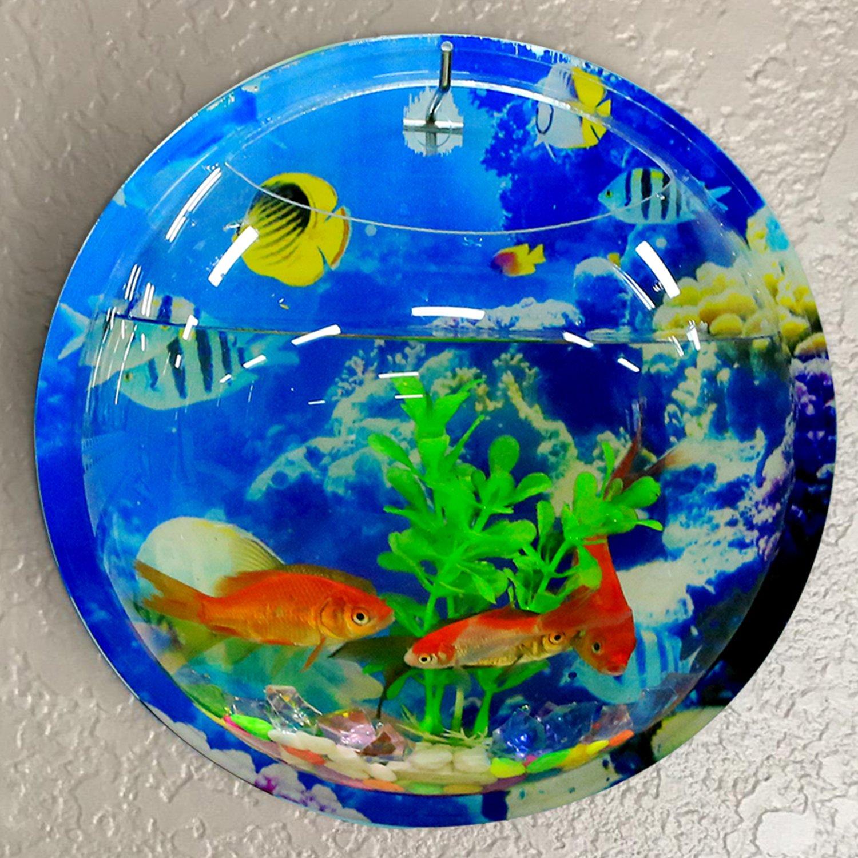 Coxeer Wall Hanging Fish Tank, Creative Acrylic Wall Fish Tank, 9in Sea World Acrylic Wall Hanging Fish Bowl Vase Aquarium Plant Pot Fish Bubble Aquarium for Home and Office Decoration