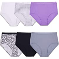 Fruit of the Loom Women's 6 Pack Cotton Brief Panties